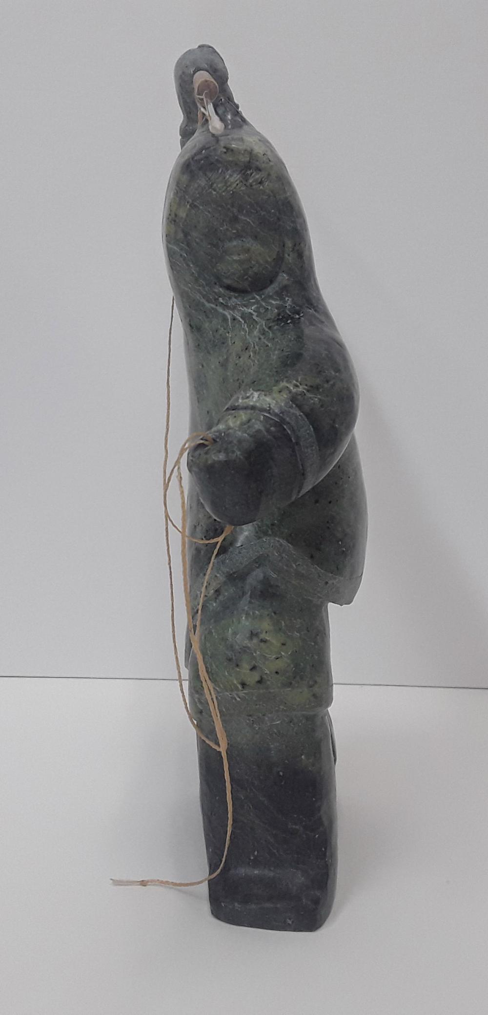 "Archie Ishulutak's ""Marble Hunter"" Org Marble Sculpture"