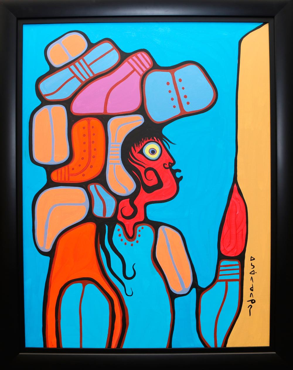 "Norval Morrisseau's ""Young Man With Headdress"" Original Acrylic on Canvas Framed Painting"