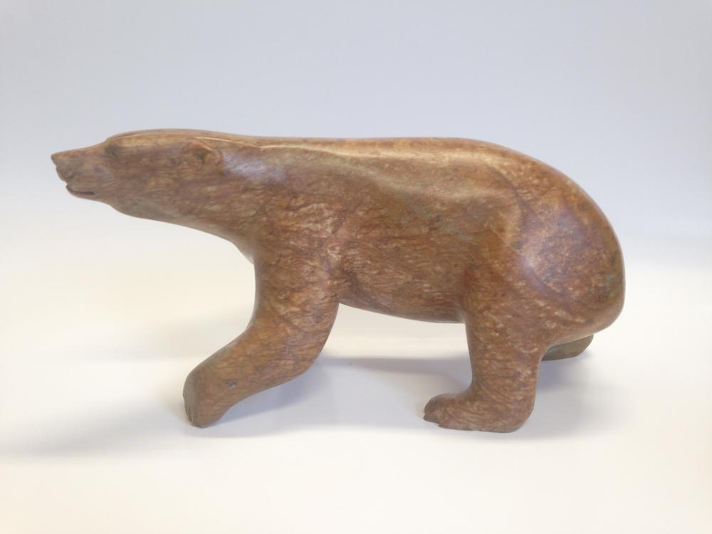 "Bill Nasogoluak's ""Brown Polar Bear"" Org. Inuit Carving"