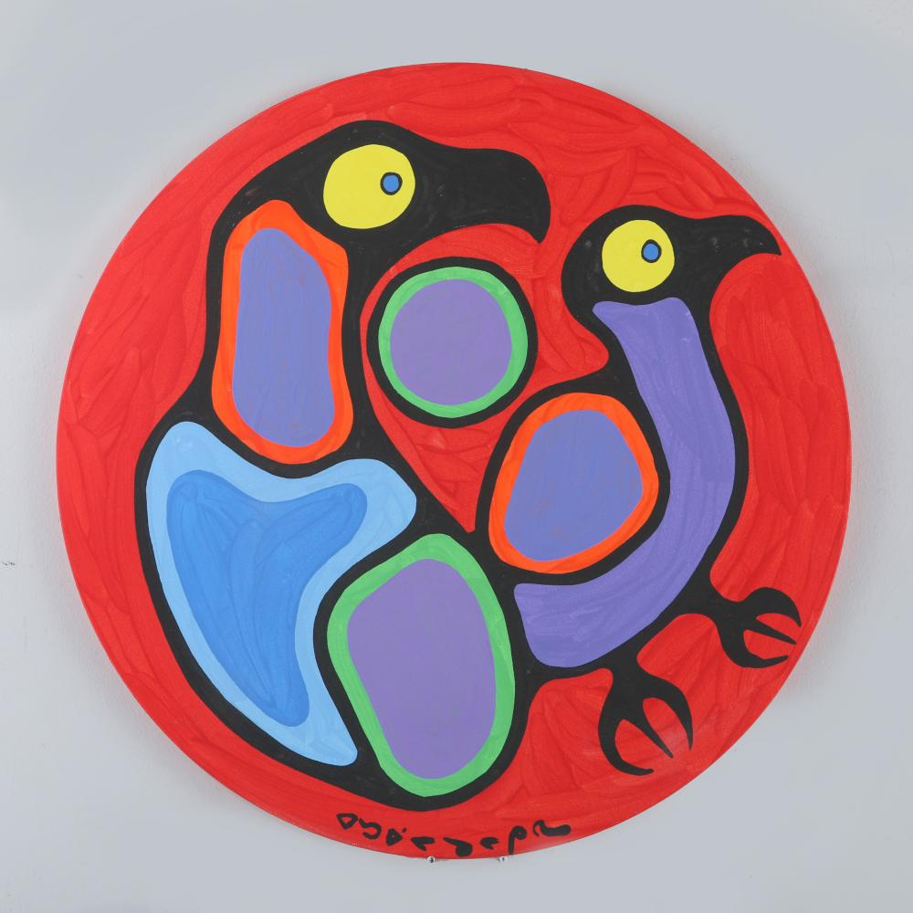 """Norval Morrisseau's """"Birds Connected Red"""" Original"""