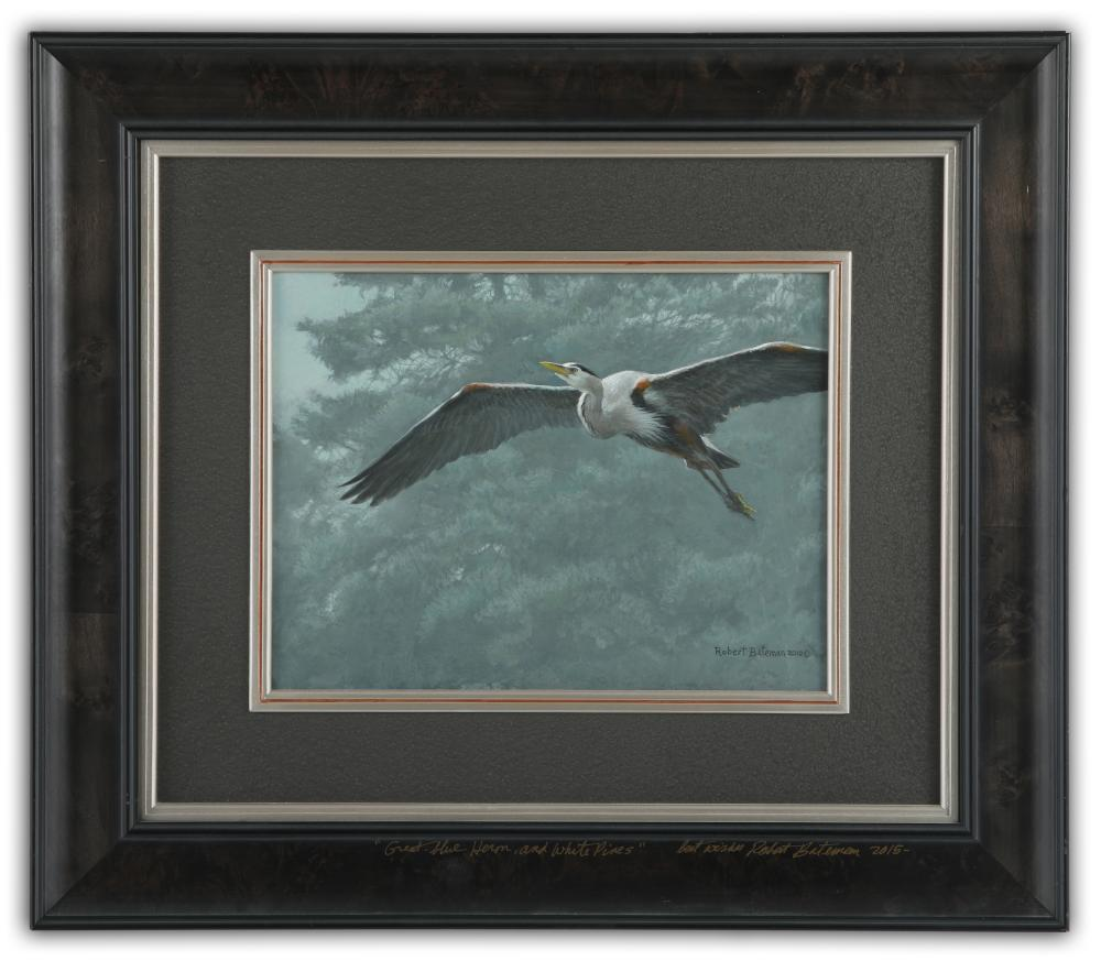 "Robert Bateman's ""Great Blue Heron and White Pines"" Original"