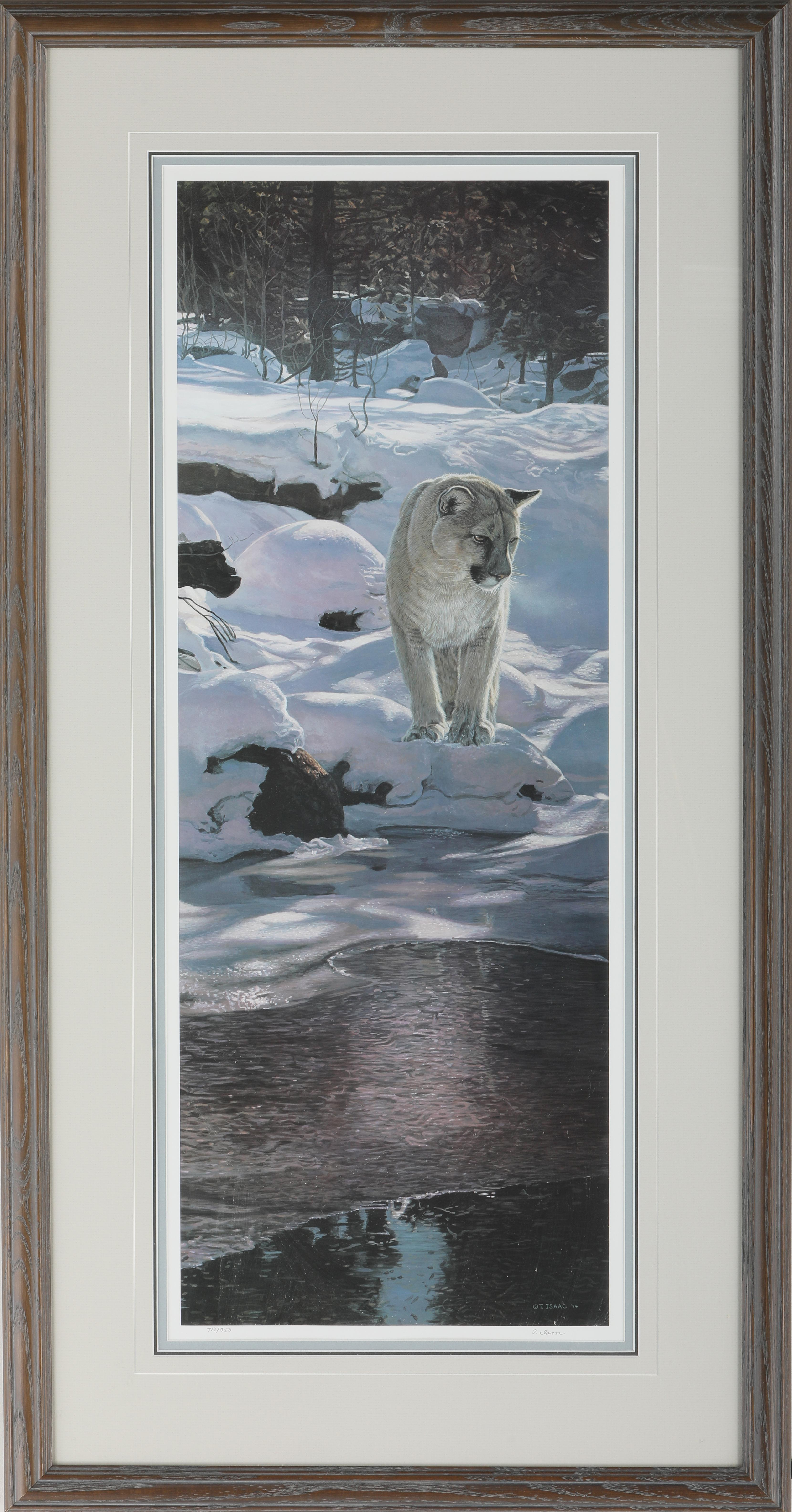 """Terry Isaac's """"Snow Shadows - Cougar"""" Limited Edition Print"""
