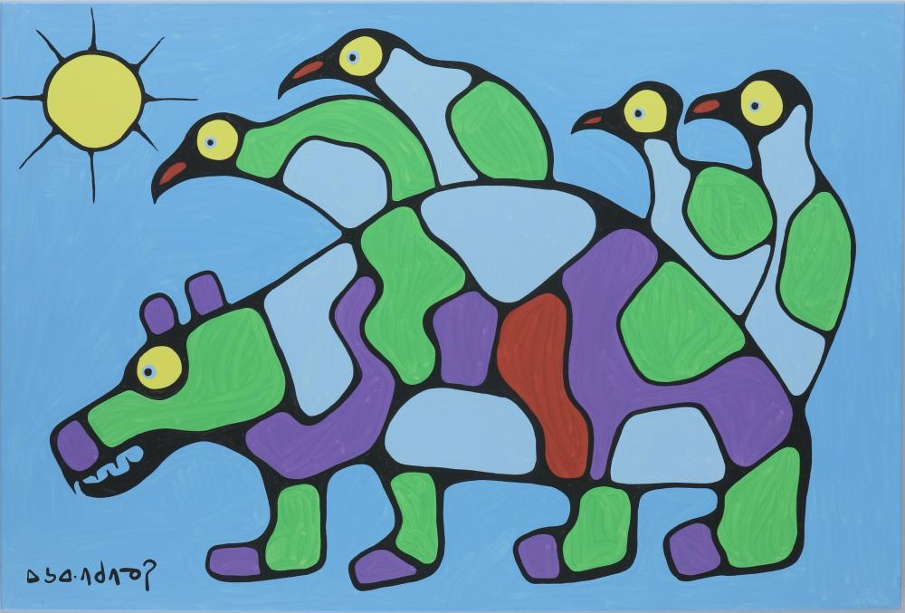 """Norval Morrisseau's """"Bear With Birds and Sun"""" Original"""