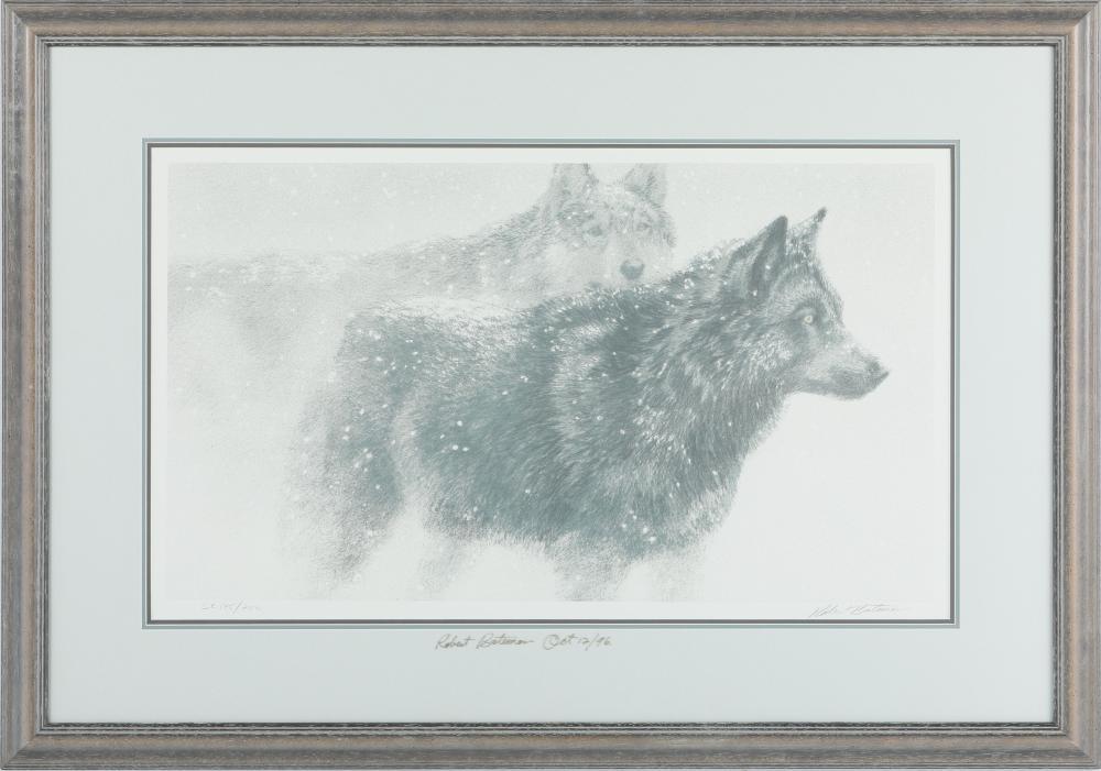 """Robert Bateman's """"Wolf Pair in Winter"""" Original Lithograph"""