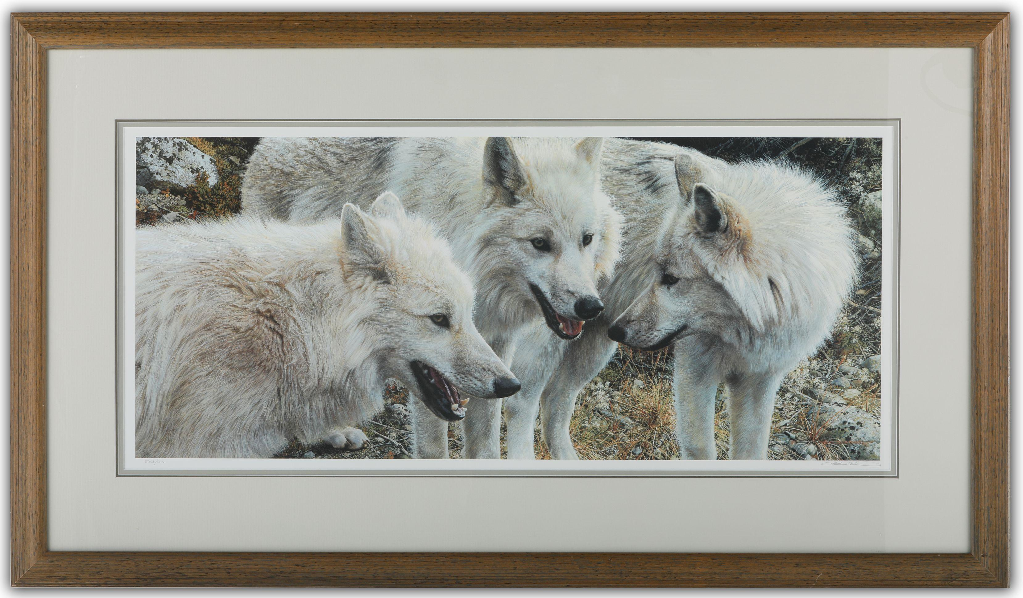 """Carl Brenders' """"Tundra Summit - Arctic Wolves"""" Limited Edition Print"""
