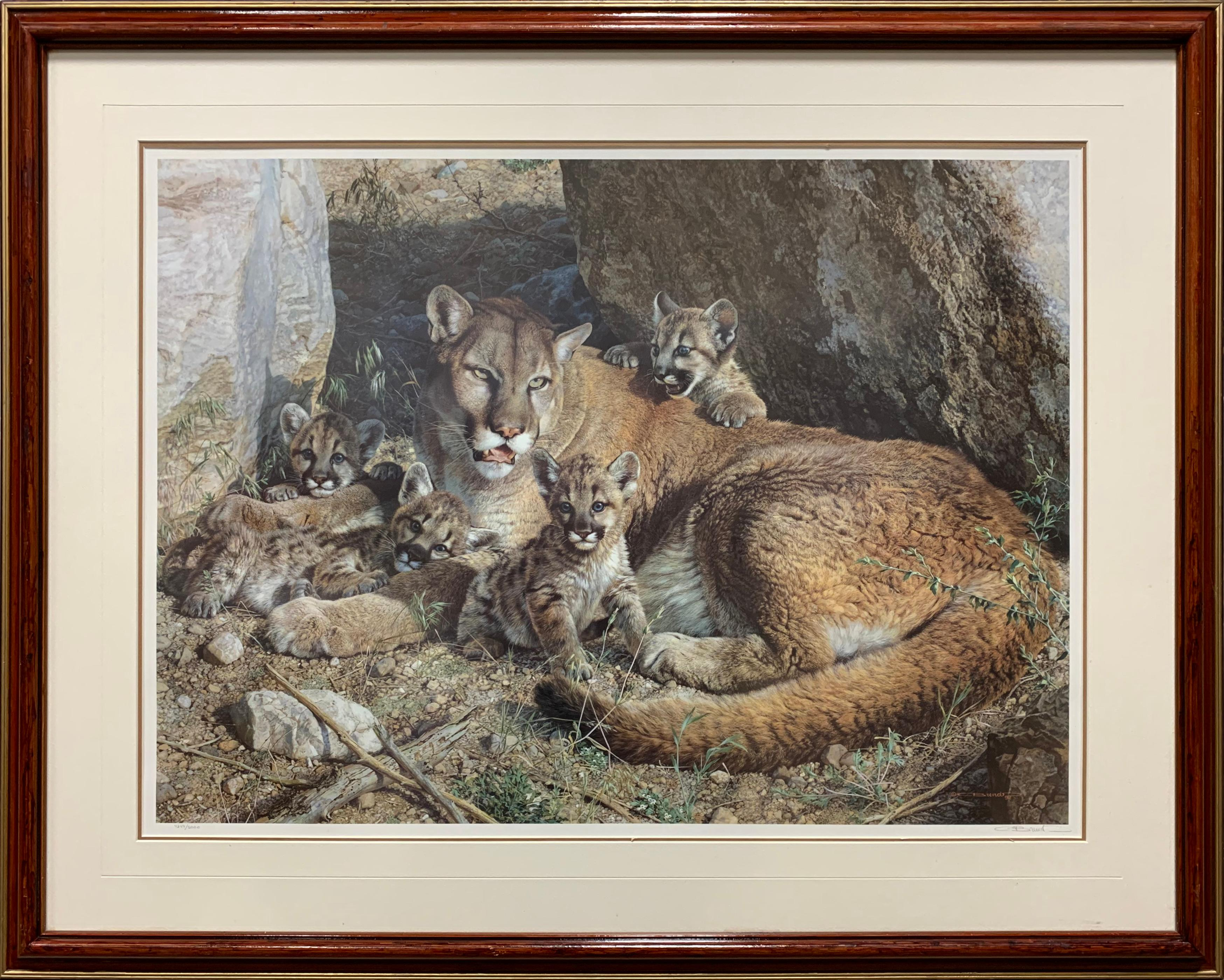 "Carl Brenders' ""Rocky Camp -Cougar Family"" Limited Edition Print"