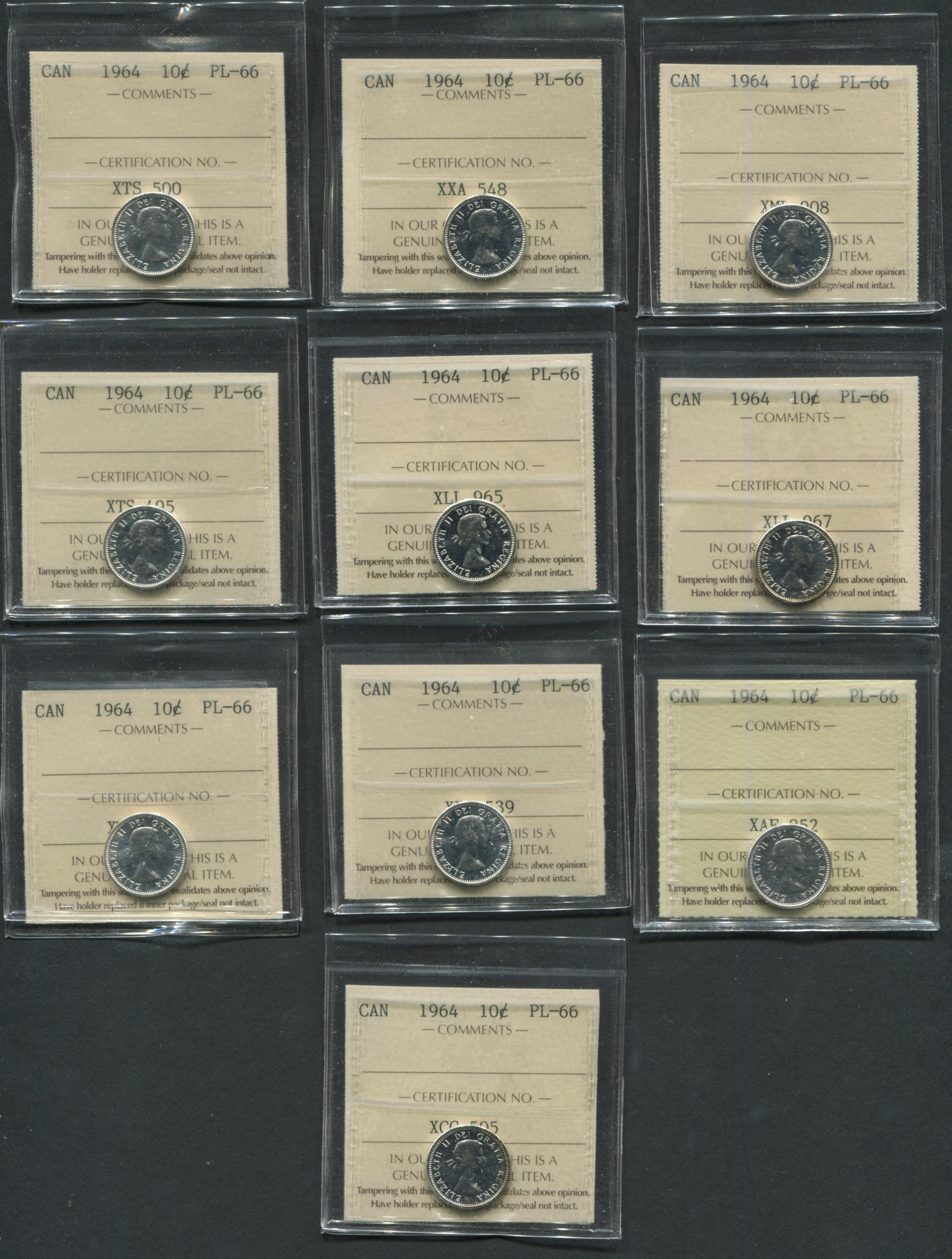 Canada 1964 10 Cent PL66 Coin Collection