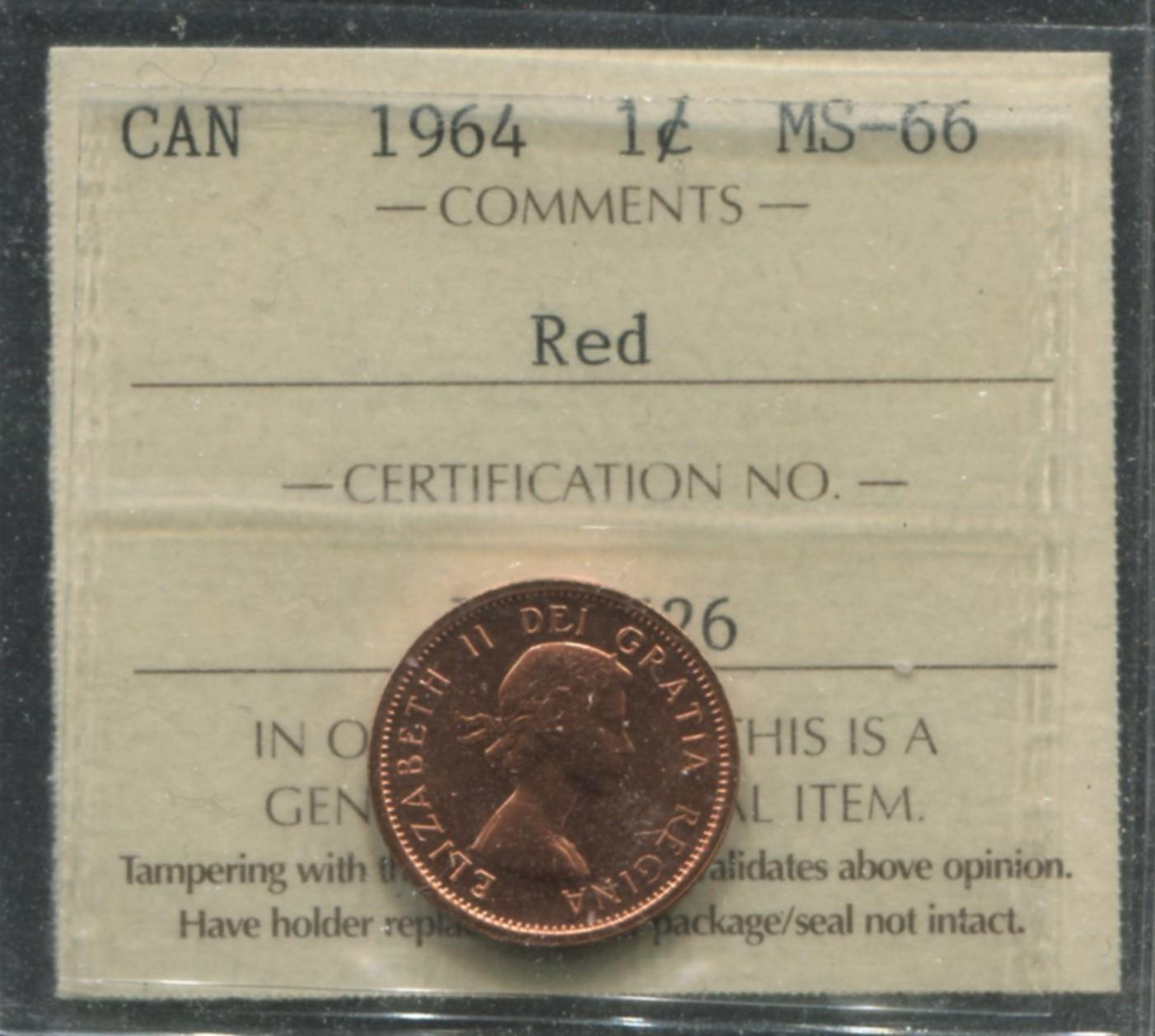 Canada 1964 1 Cent MS66 Red Coin