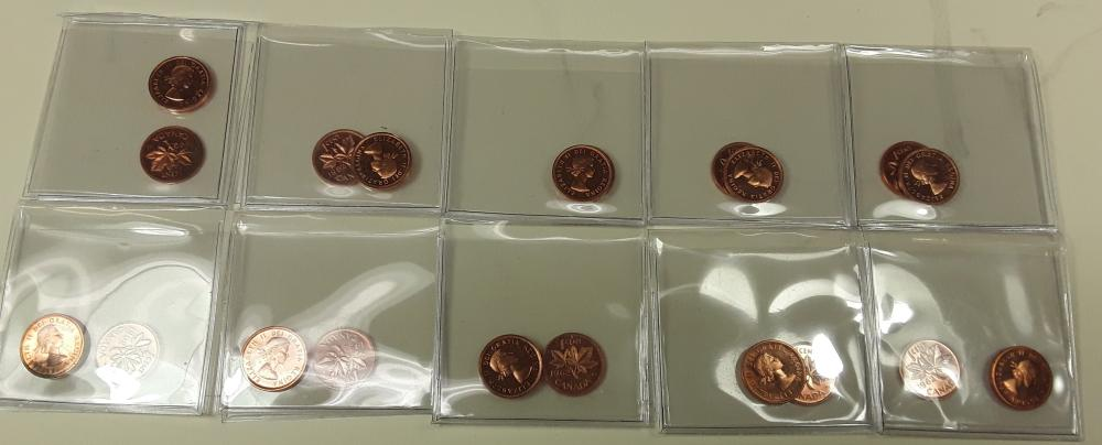 Canada 1962 Prooflike 1 Cent (penny) Coin Collection 1