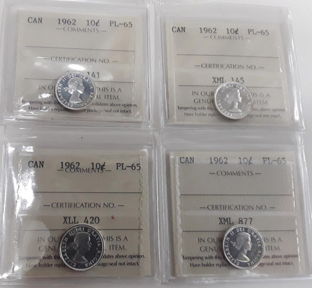 Canada 1962 Prooflike 10 Cent (dime) Coin Collection 2