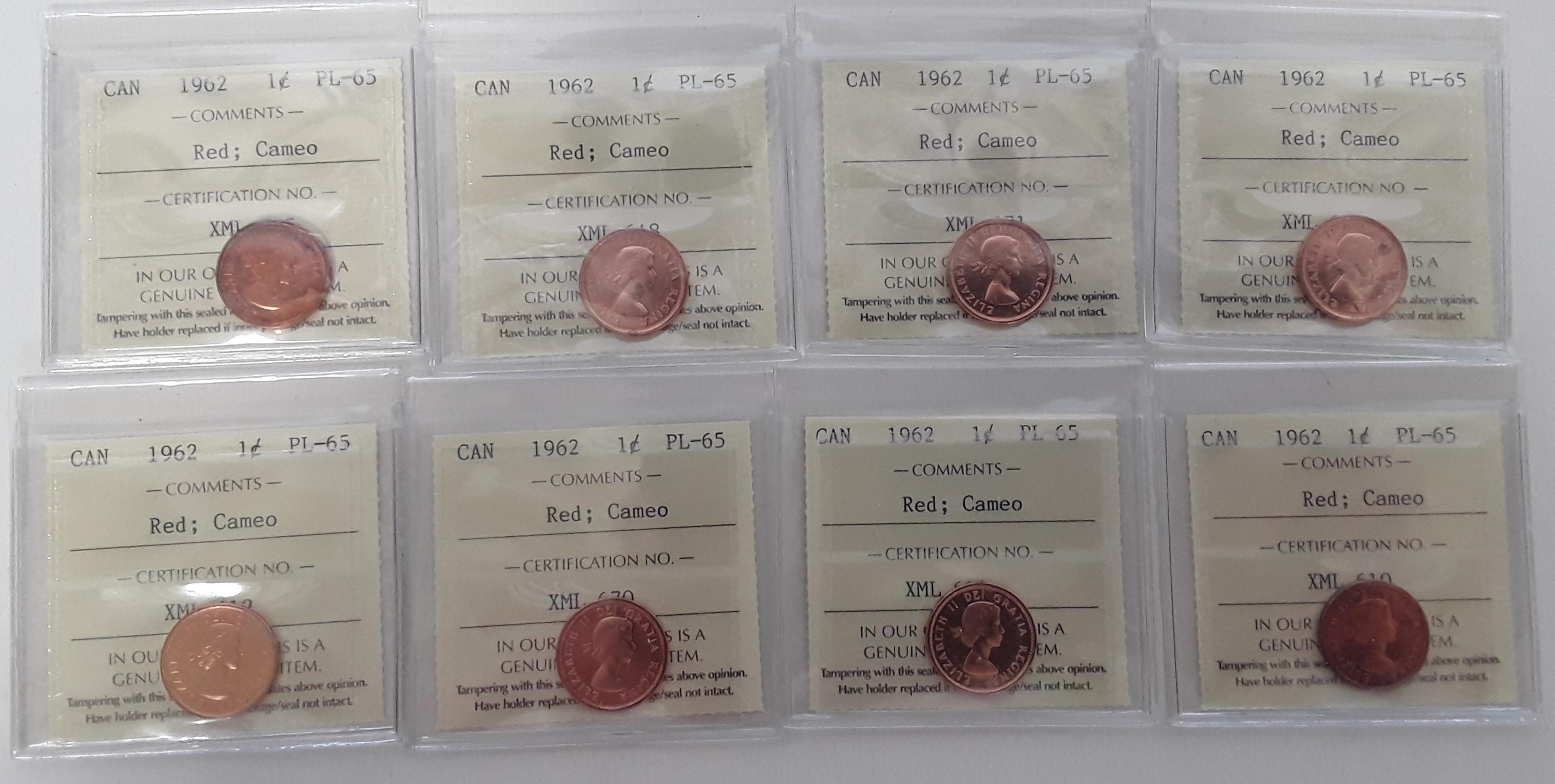 Canada 1962 Prooflike 1 Cent (penny) Coin Collection 2