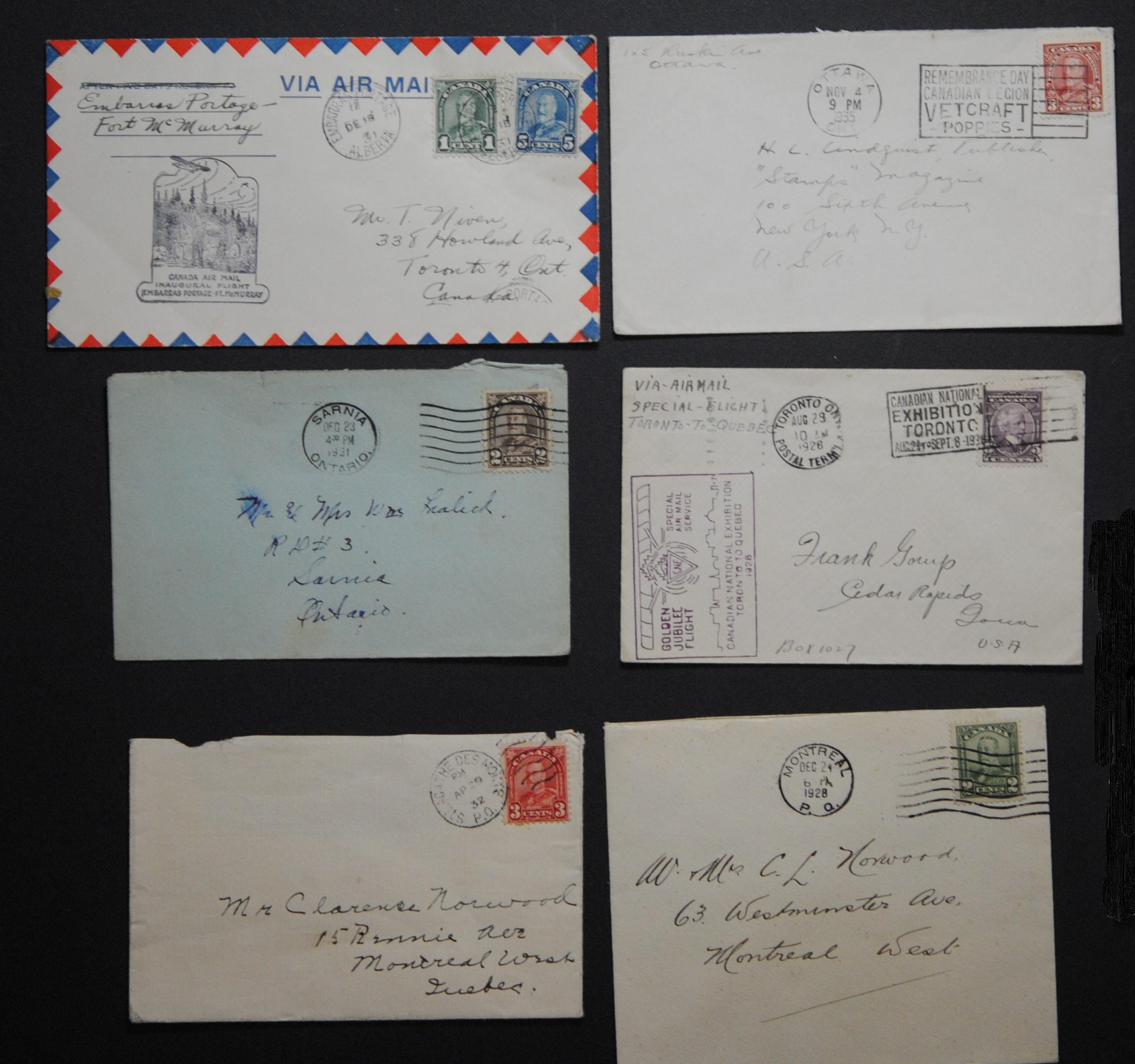 Canada 5 Stamps and Letters Collection