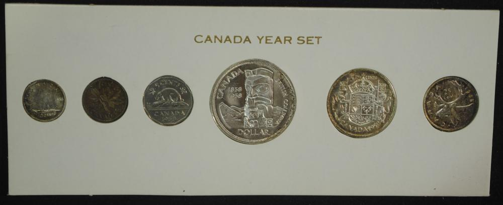 Canada 1958 Prooflike Coin Set