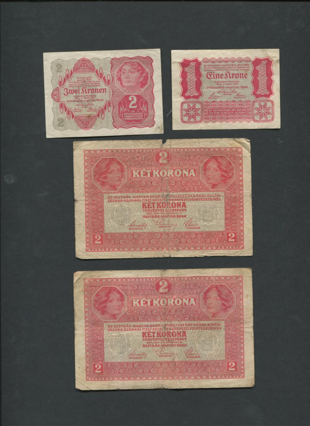 Hungary and Austria Banknotes