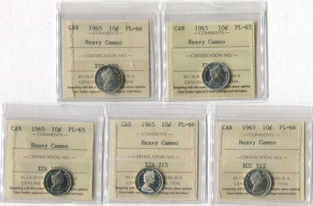 Canada 1965 10c Prooflike Heavy Cameo Coin Collection