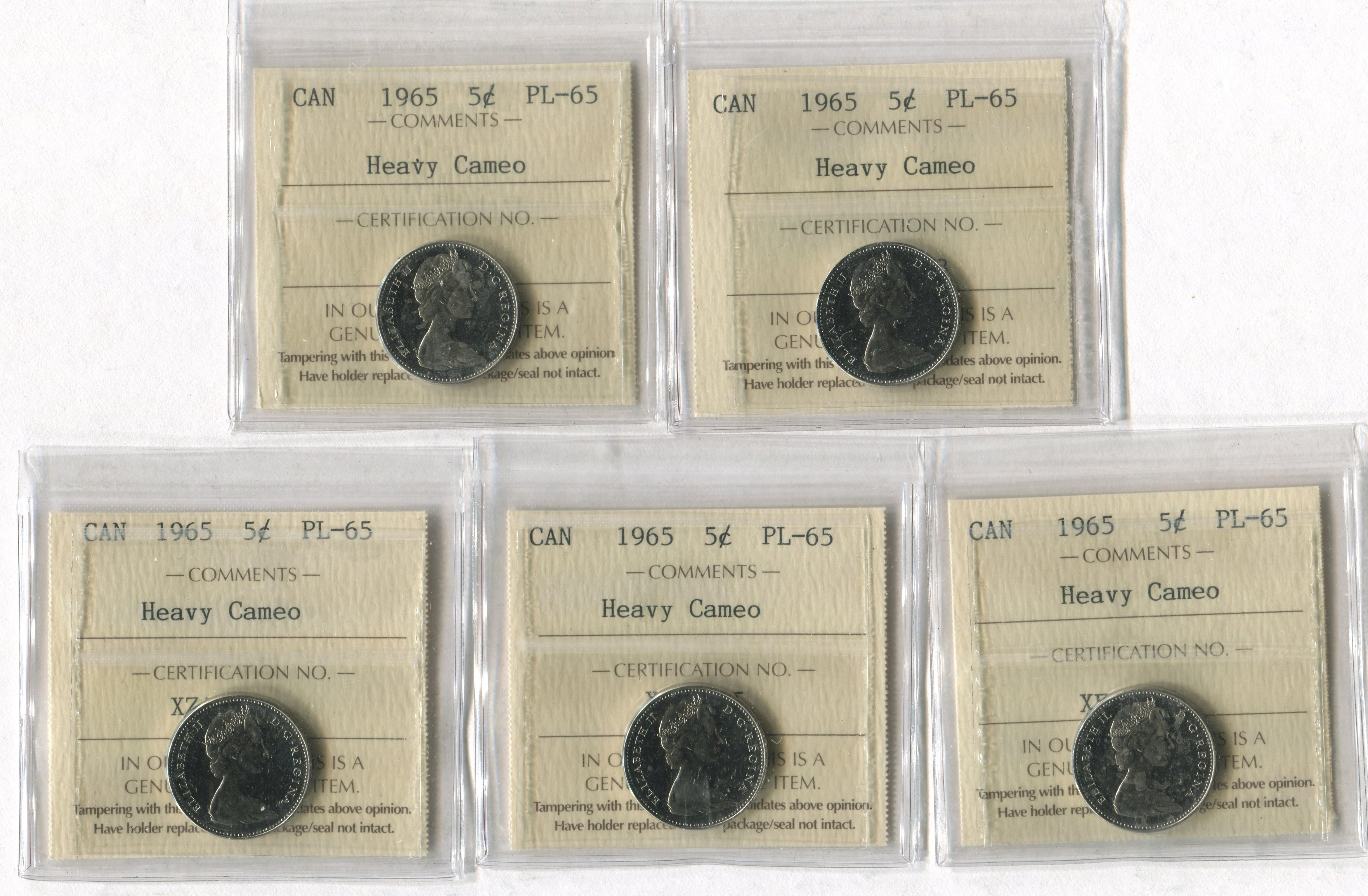 Canada 1965 5 Cent PL65 Heavy Cameo Coin Collection