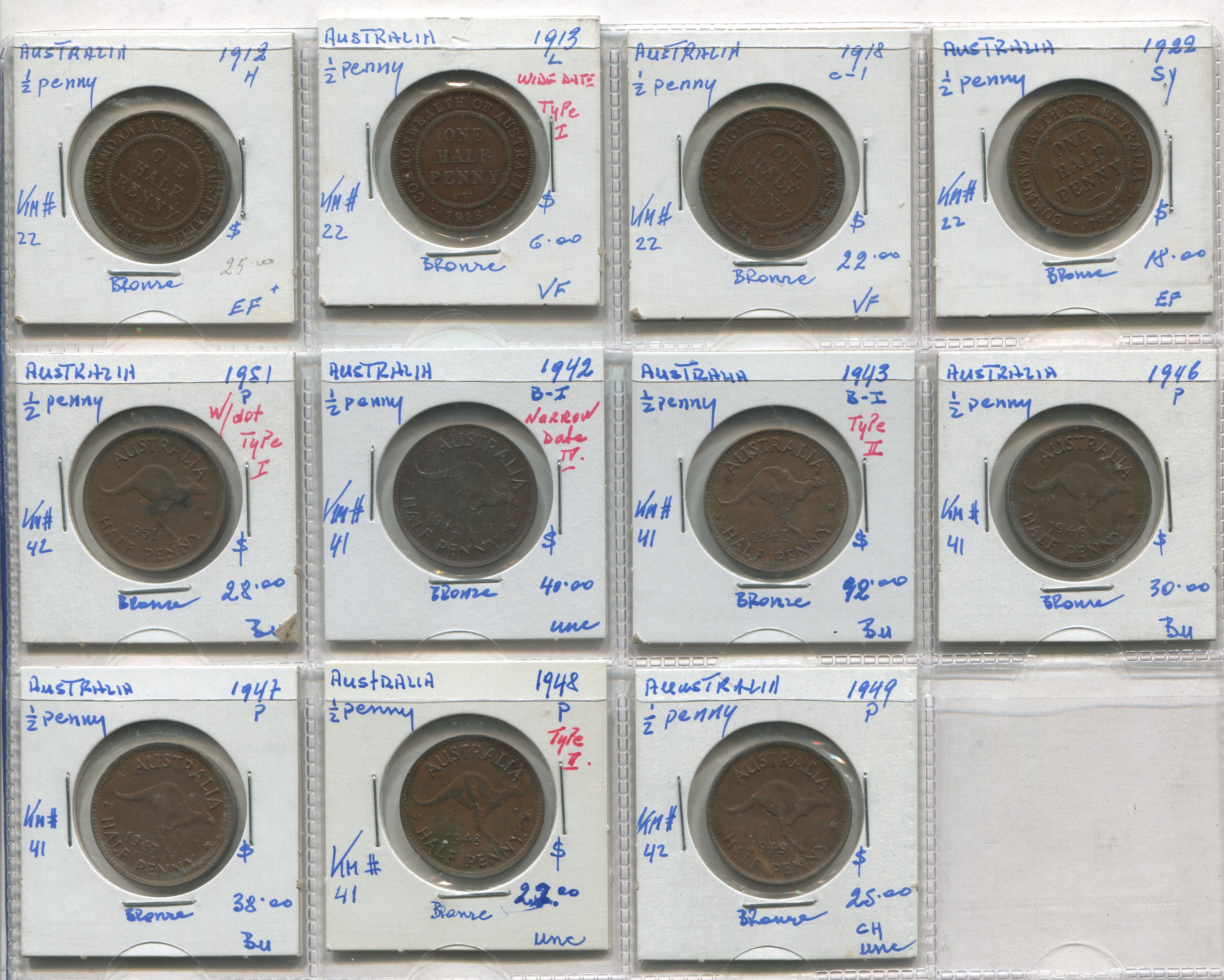 Australia 1912-49 1/2 Penny Coin Collection