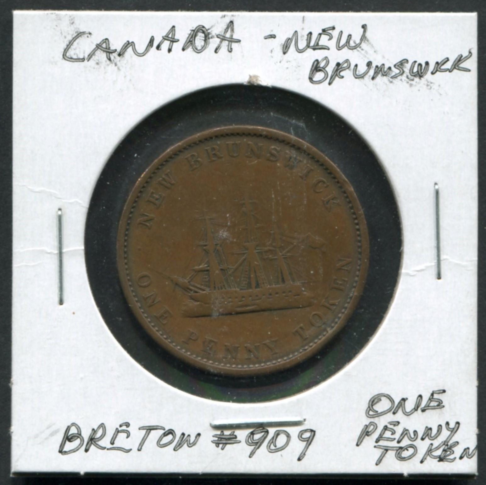 Canada New Brunswick 1 Penny Breton #909 Token