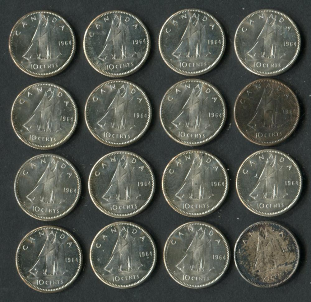 Canada 1964 10 Cent Coin Collection