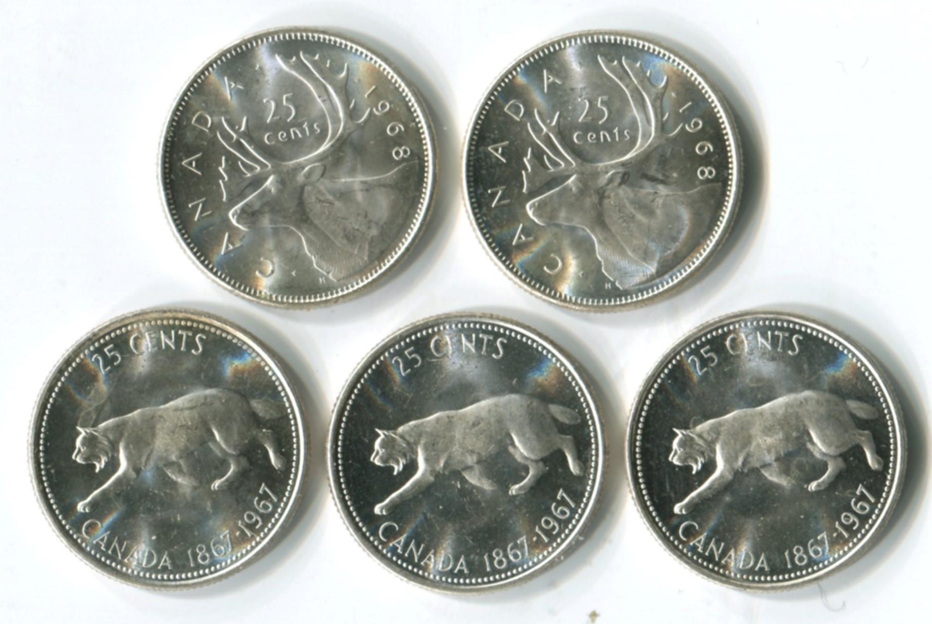 Canada 1967-68 Silver 25c Gem Coins