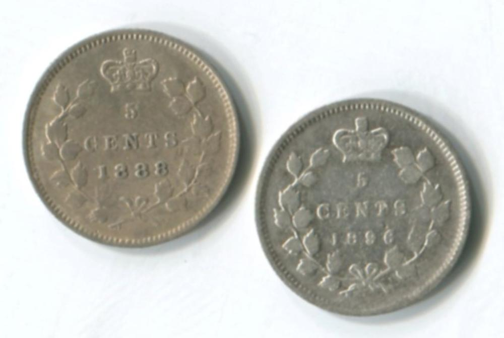 Canada 1896 5c LRG 6 & 1888 5c Coins