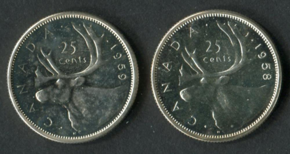 Canada 1958 & 1959 25c Silver PL Coins