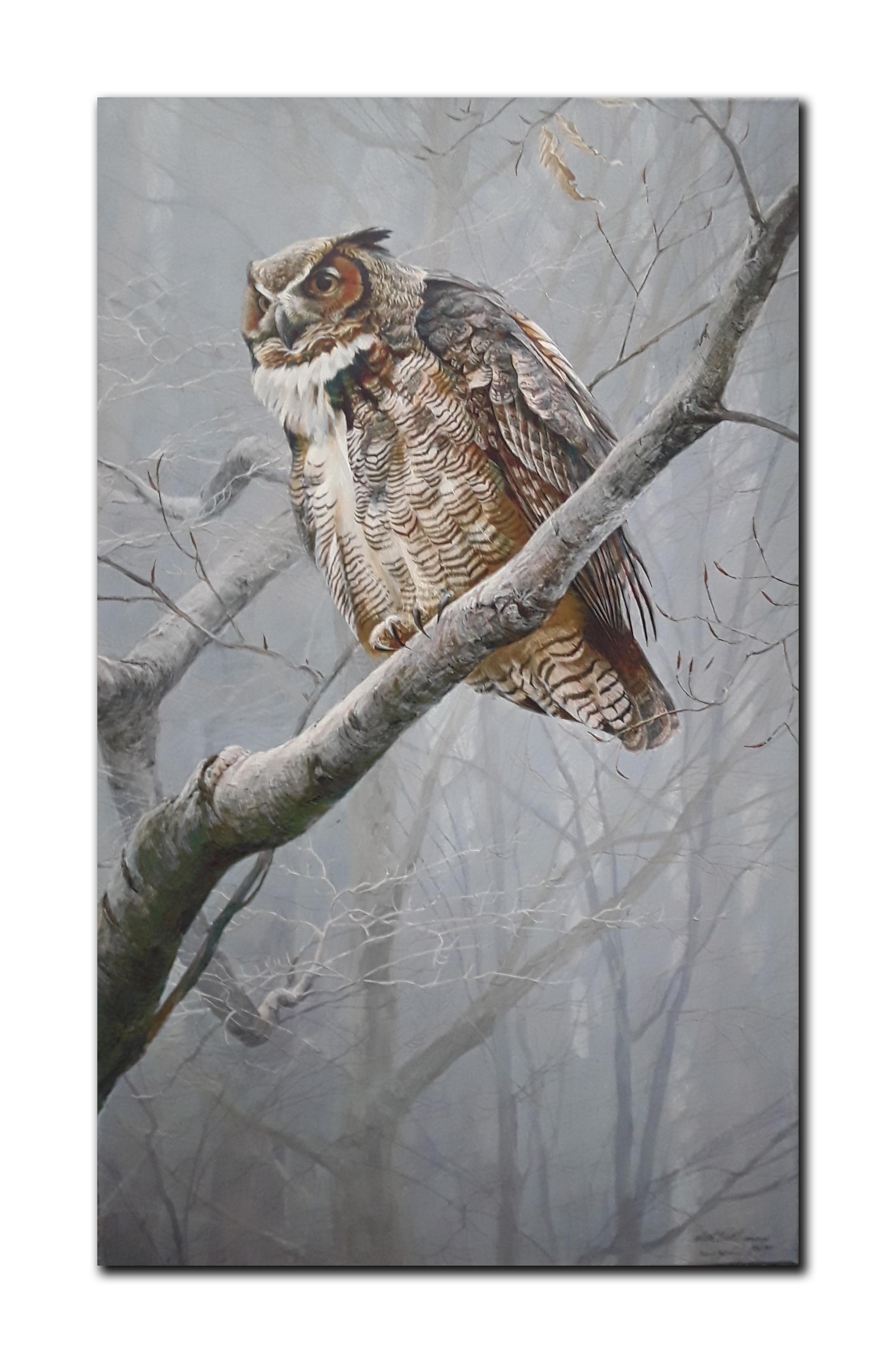 "Robert Bateman's ""Winter Mist- Great Horned Owl"" Limited Edition Canvas"
