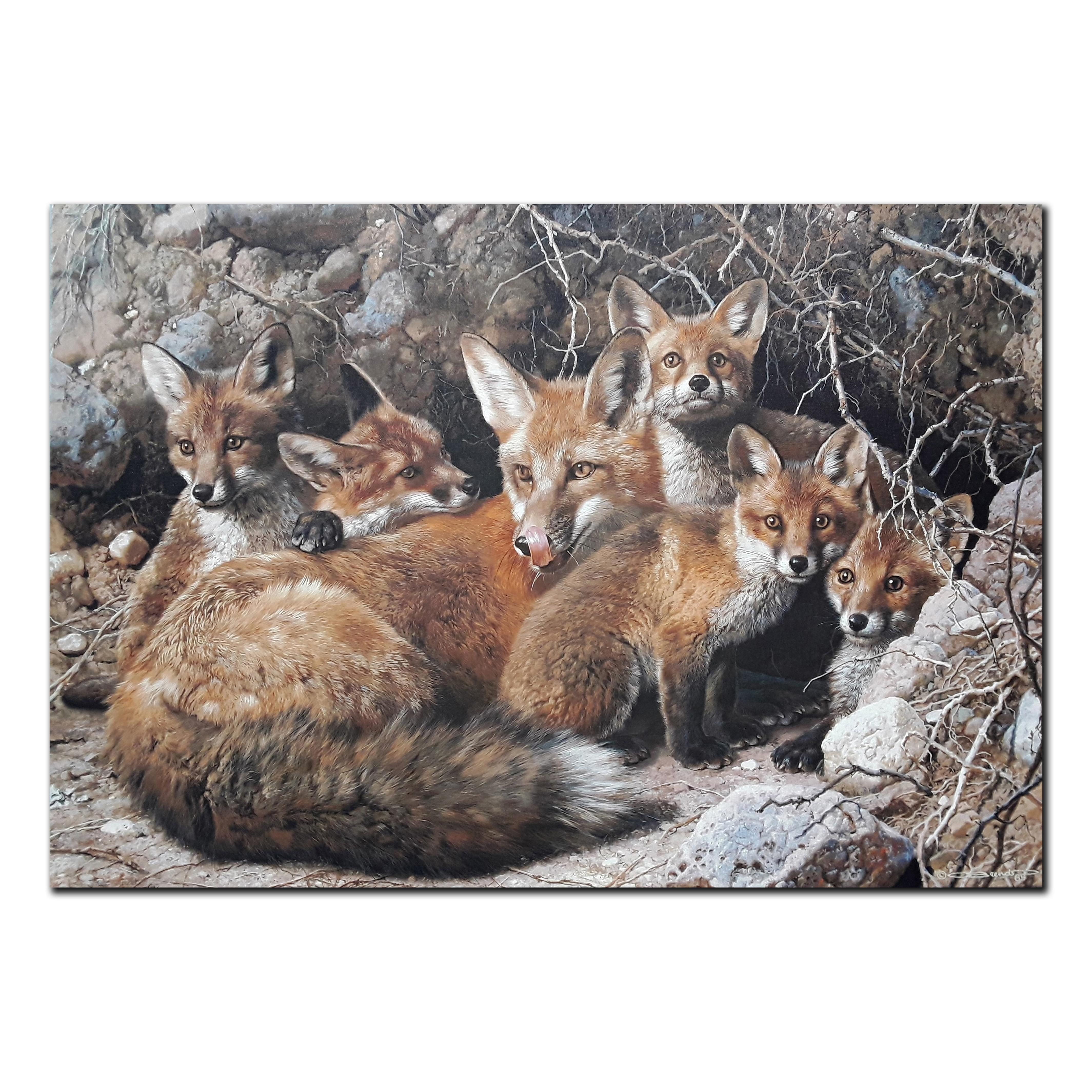 """Carl Brenders' """"Full House- Fox Family"""" Limited Edition Canvas"""