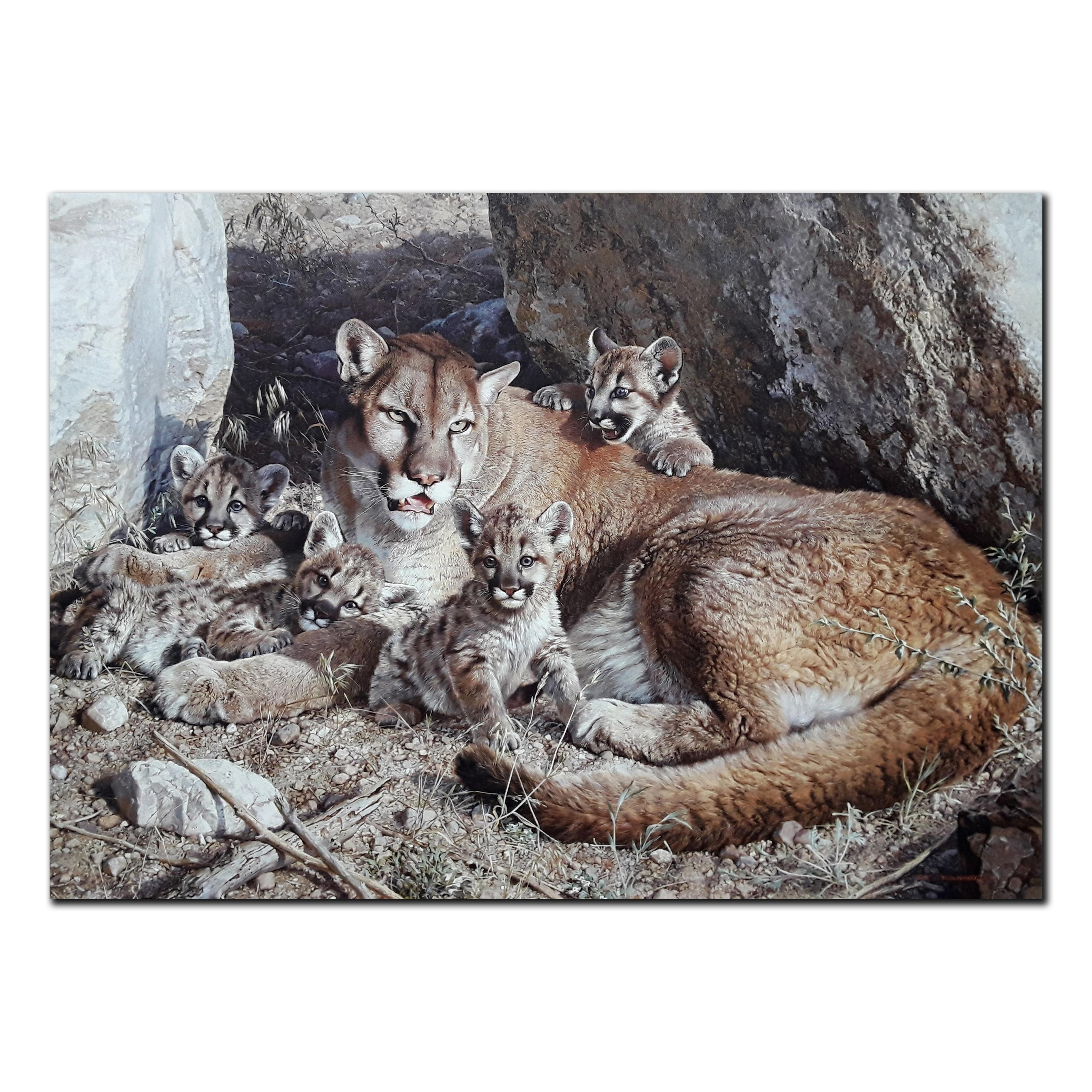 """Carl Brenders' """"Rocky Camp- Cougar Family"""" Limited Edition Canvas"""