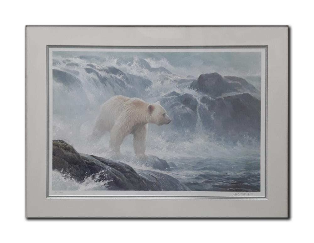 "Robert Bateman's ""Salmon Watch- Spirit Bear"" Limited Edition Framed Print"