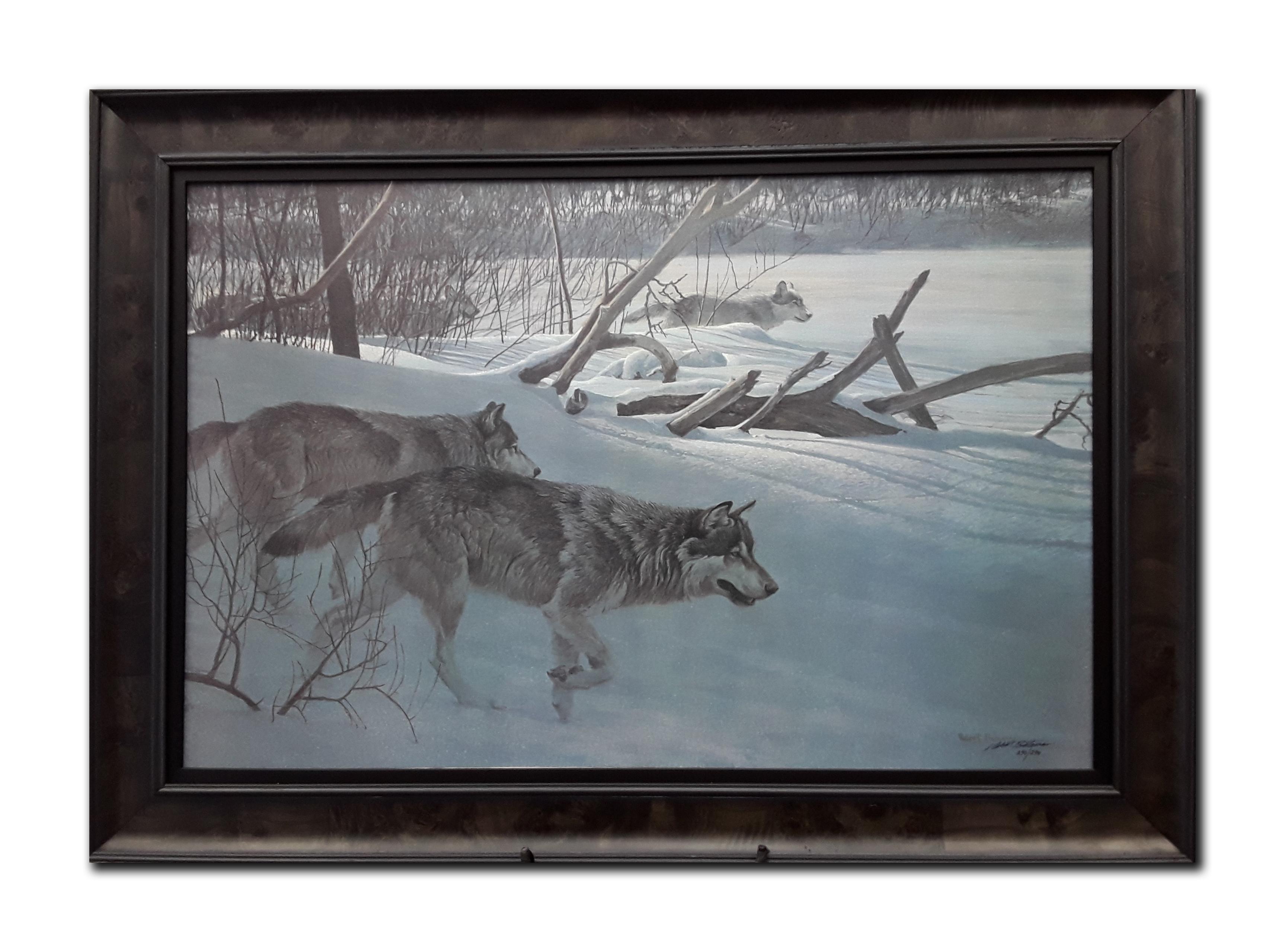 "Robert Bateman's ""Wolfpack In Moonlight"" Limited Edition Framed Canvas"