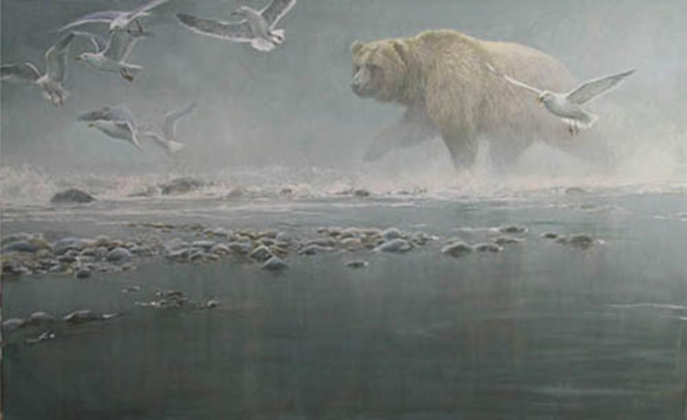 """Robert Bateman's """"Above The Rapids - Gulls And Grizzly"""" Limited Edition Canvas Signed And Numbered"""