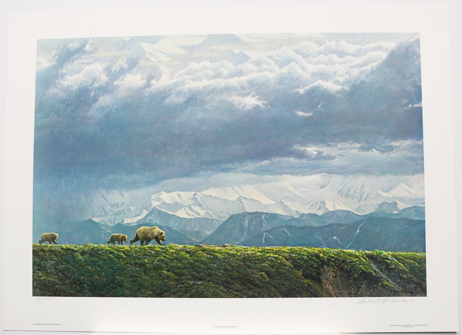 """Robert Bateman's """"Along The Ridge - Grizzly Bear"""" Limited Edition Print Signed and Numbered"""