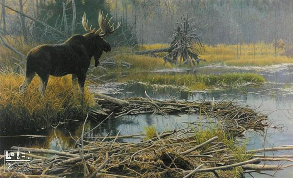 """Robert Bateman's """"Autumn Overture - Moose"""" Limited Edition Canvas Signed and Numbered"""