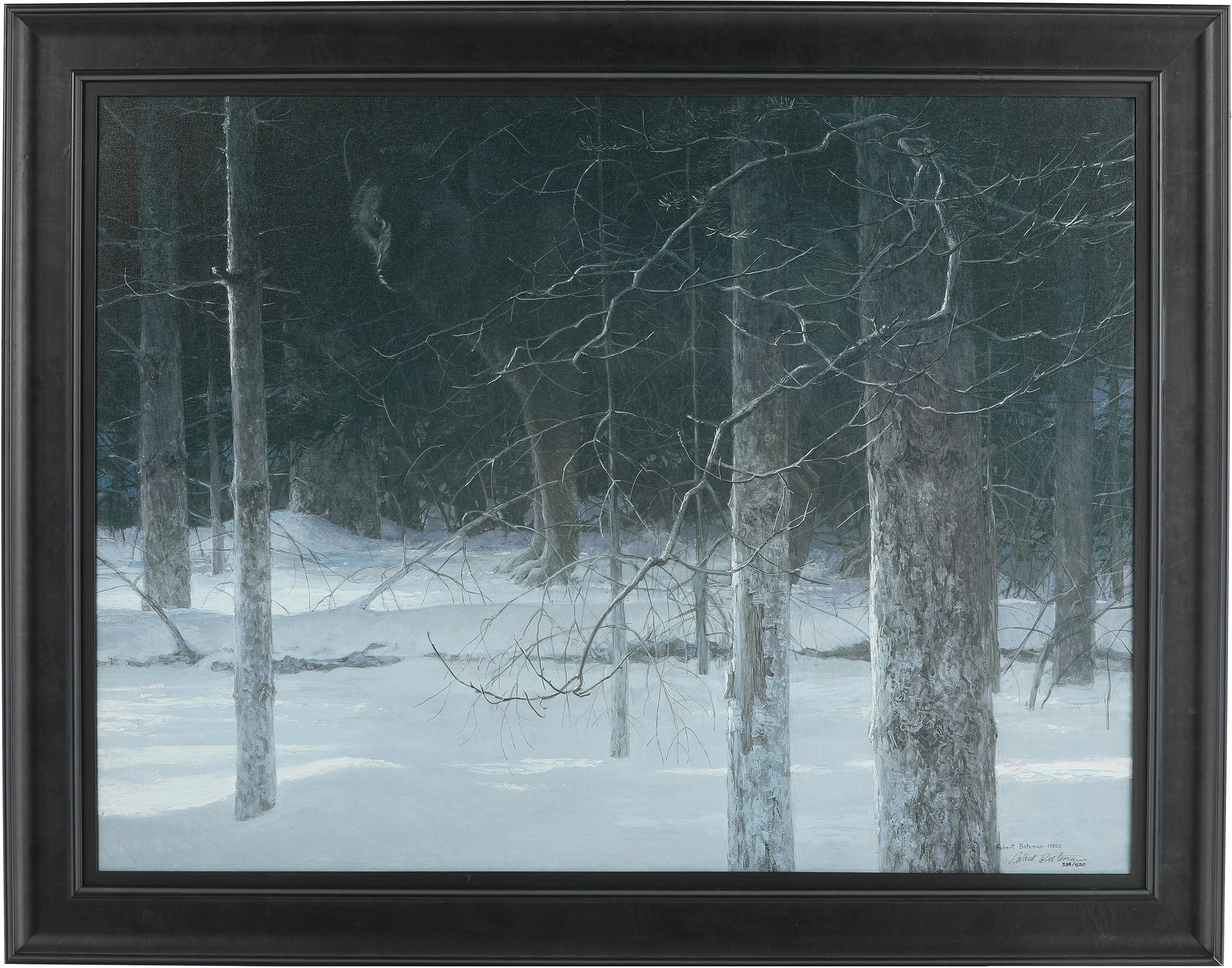"""Robert Bateman's """"Midnight Black Wolf"""" Limited Edition Canvas"""