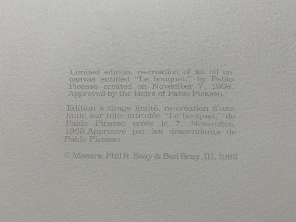 """Pablo Picasso's """"Le Bouquet"""" Limited Edition Lithograph"""