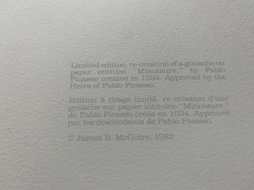 """Pablo Picasso's """"Minotaure"""" Limited Edition Lithograph"""