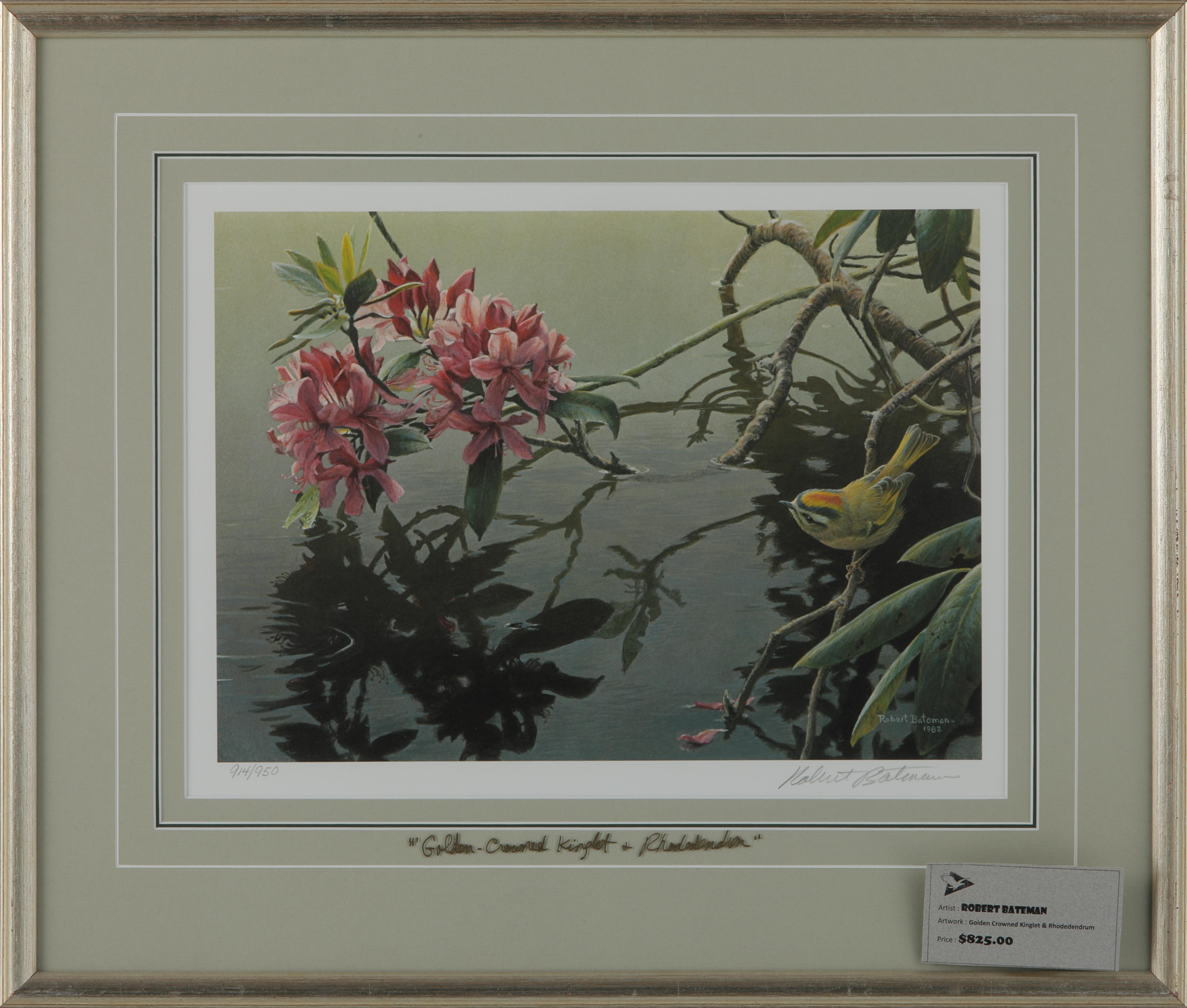 """Robert Bateman's """"Golden-Crowned Kinglet And Rhododendron"""" Framed Limited Edition Print"""
