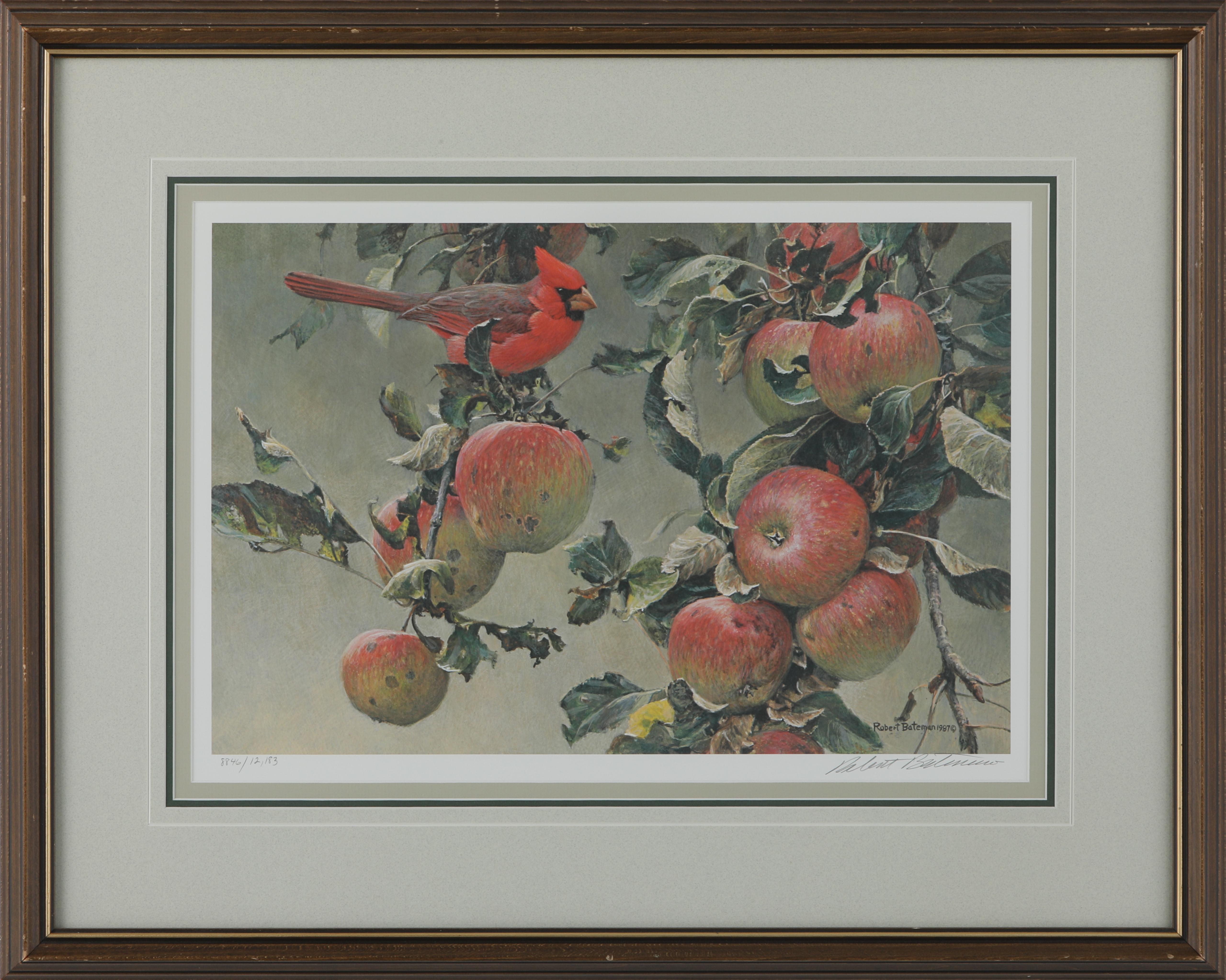 "Robert Bateman's ""Cardinal and Wild Apples"" Limited Edition Framed Print"