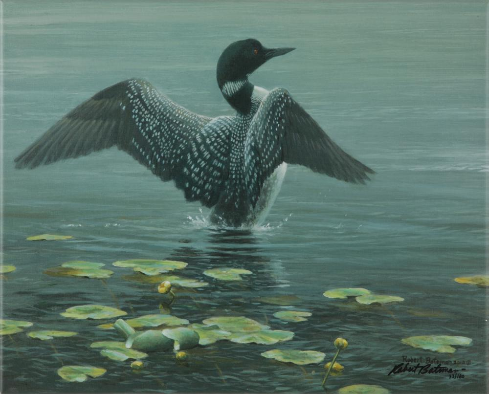 "Robert Bateman's ""Lake, Loon and Lillypads"" Limited Edition Canvas"