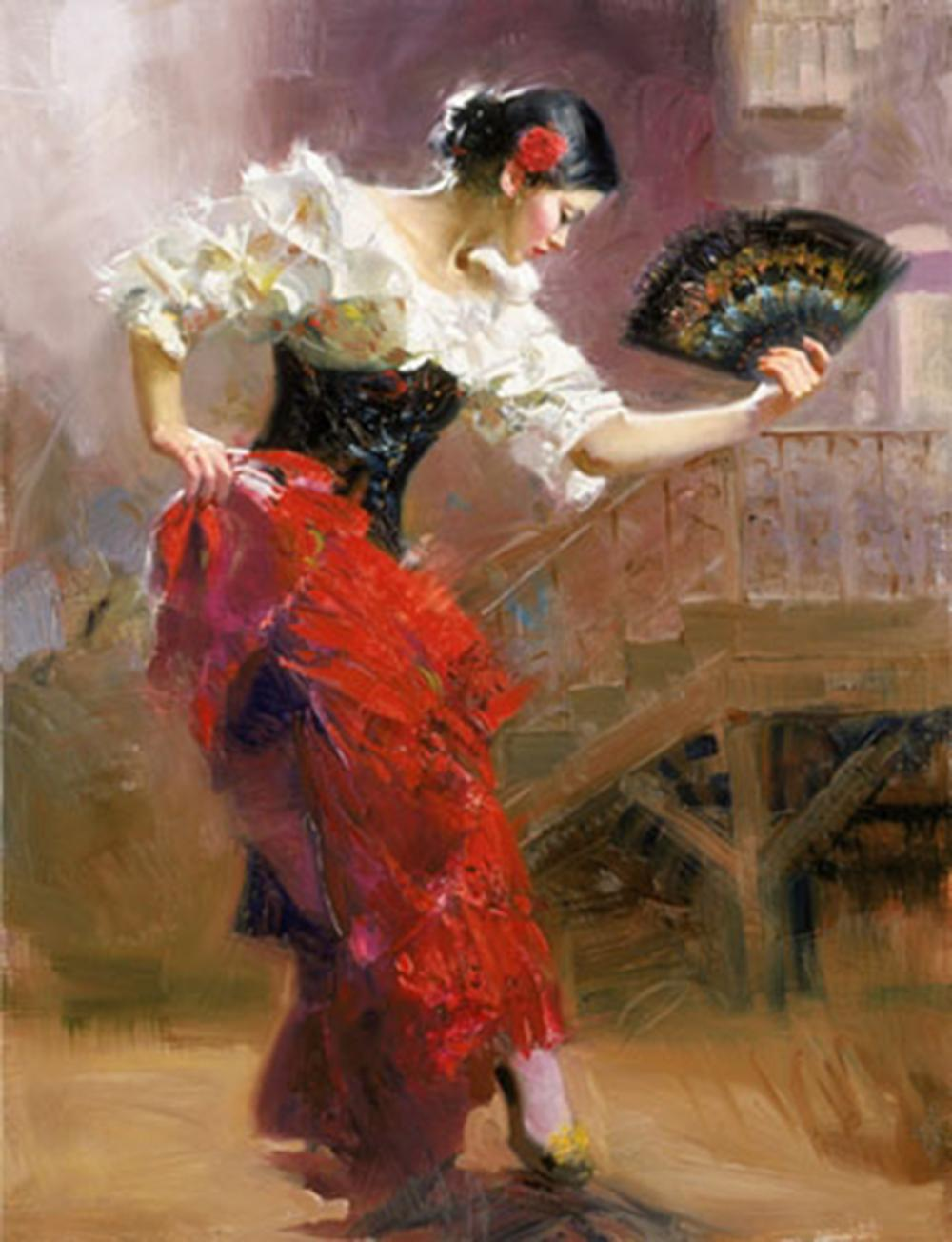 """Pino's """"Spanish Dancer"""" Limited Edition Hand Embellished Canvas"""