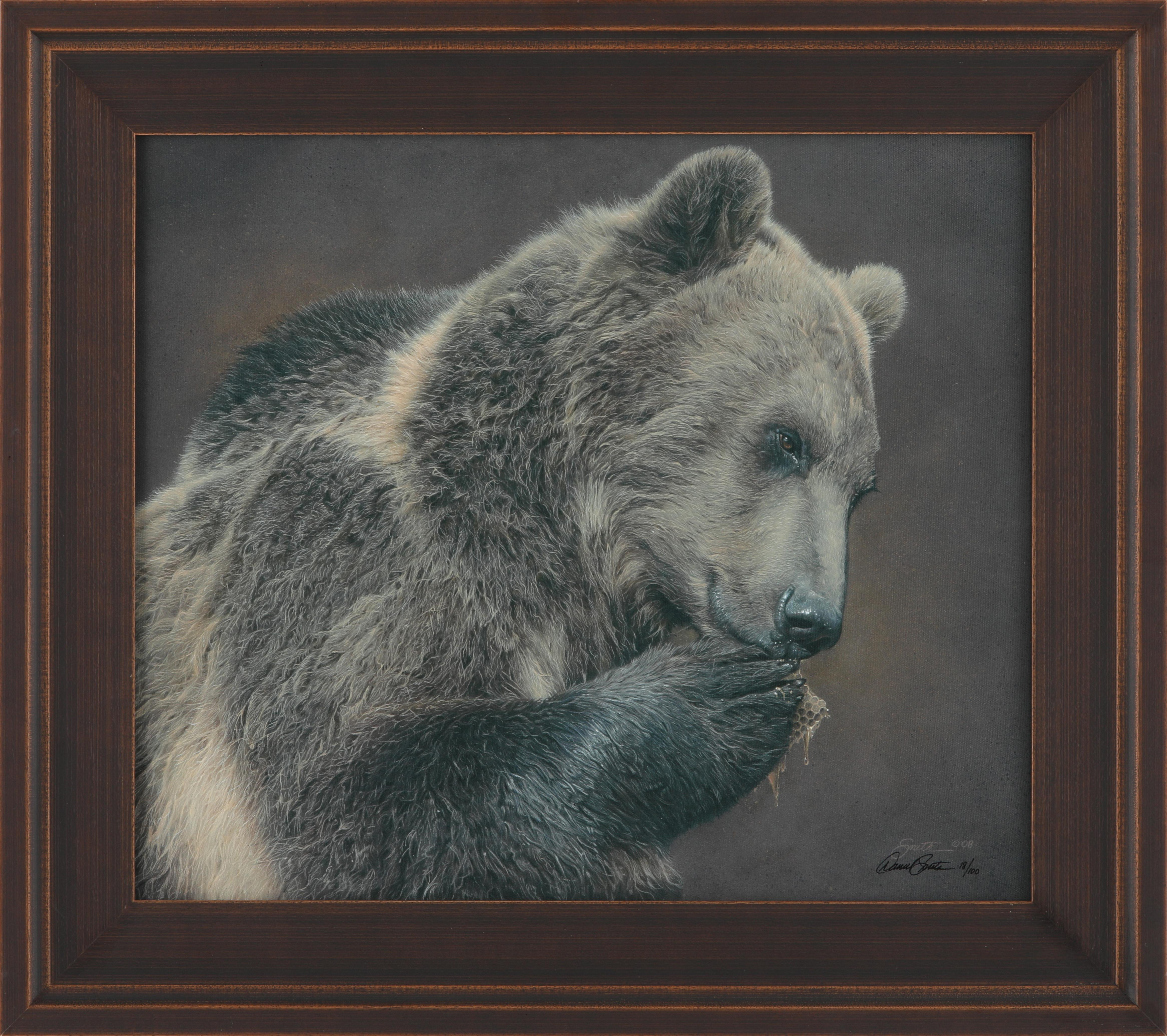 "Daniel Smith's ""A Nose For Honey - Grizzly Bear"" Limited Edition Framed Canvas"