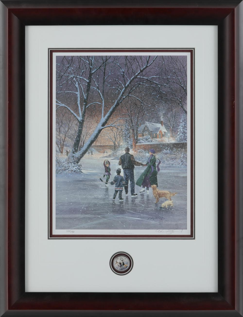 "Doug Laird's ""Ice Dancer"" Limited Edition Framed Print w/ Matching Silver Coin"
