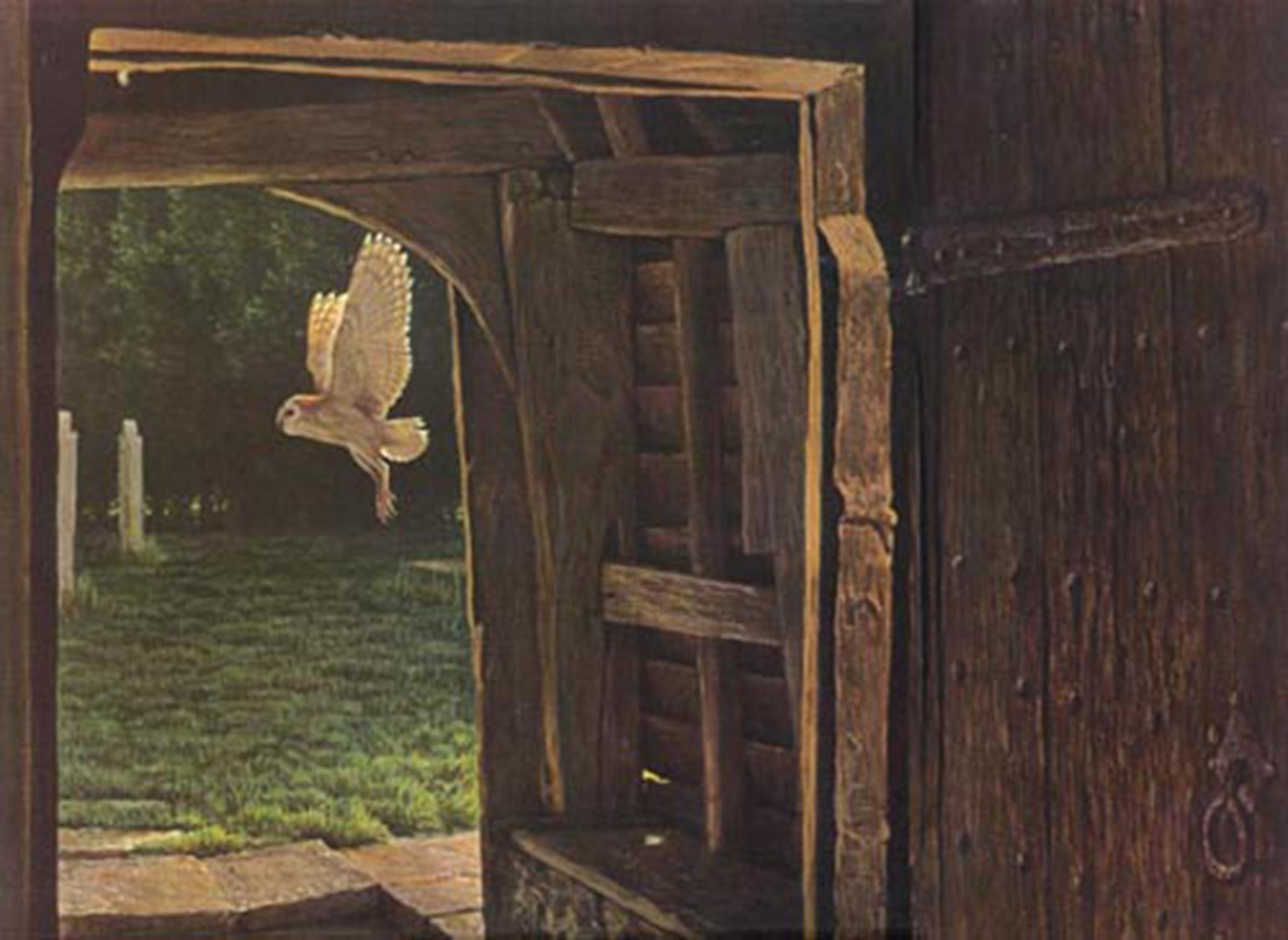 """Robert Bateman's """"Barn Owl In The Churchyard"""" Limited Edition Canvas Signed And Numbered"""