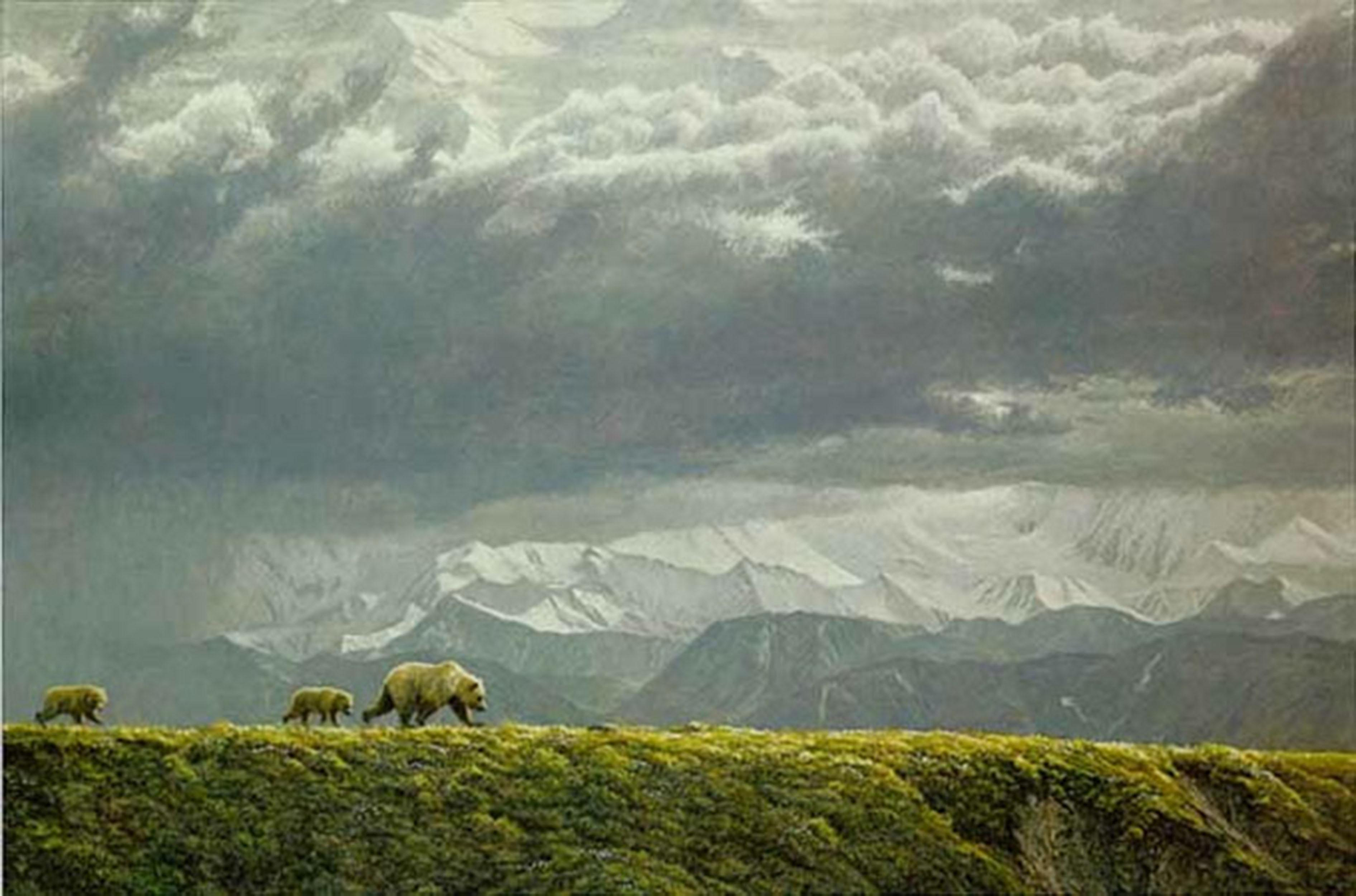 """Robert Bateman's """"Along The Ridge - Grizzly Bear"""" Limited Edition Canvas Signed And Numbered"""