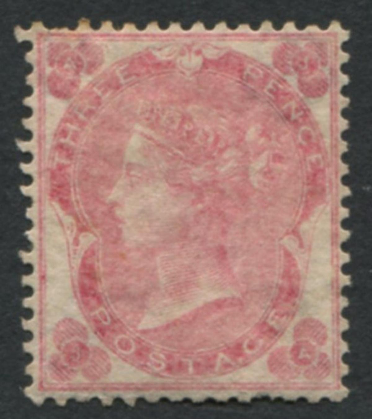 Great Britain 1862 #37 a12 3p Pale Rose