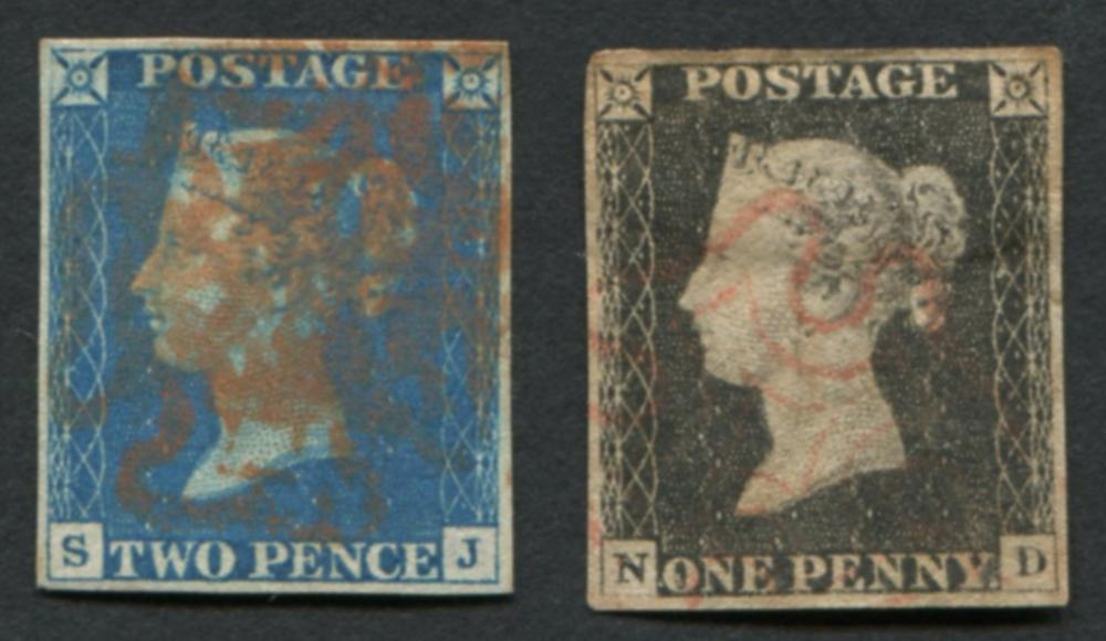 Great Britain 1840 #1 a1, #2 a1 Blue