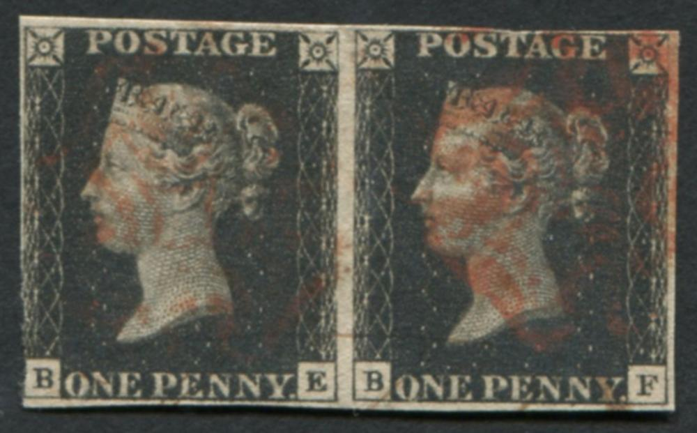 Great Britain 1840 #1 1 Penny Black Imperf Pair