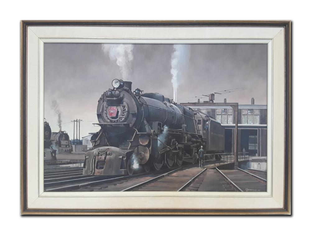 M Jeffries's 'Train' Original Oil on Canvas Framed Painting