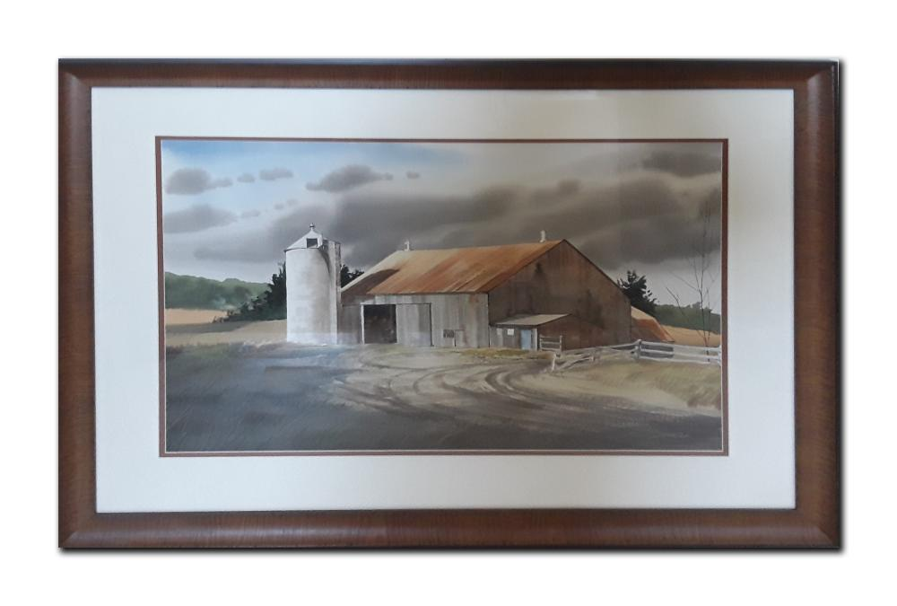 "Jack Reid's ""Barn"" Original Watercolour Framed Painting"